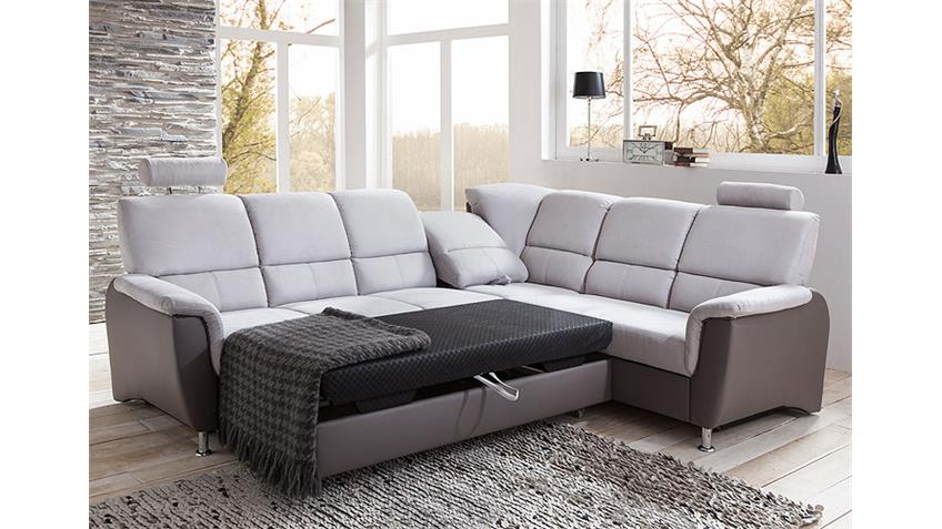 ecksofa pisa in hellgrau und dunkelgrau inkl bettfunktion. Black Bedroom Furniture Sets. Home Design Ideas