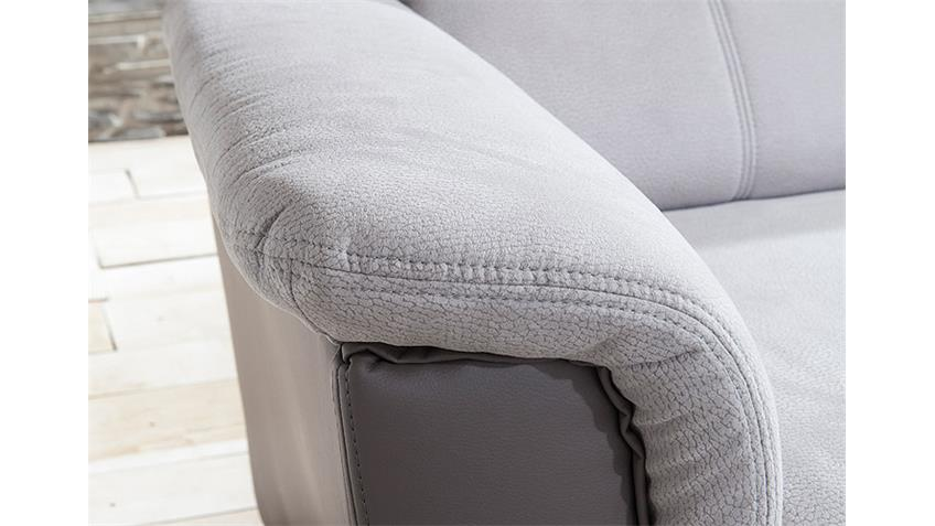 Ecksofa PISA Eckgarnitur L-Sofa hellgrau grau Bettfunktion Kopfstützen