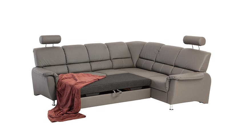 Ecksofa PISA Sofa in dunkelgrau mit Bettfunktion