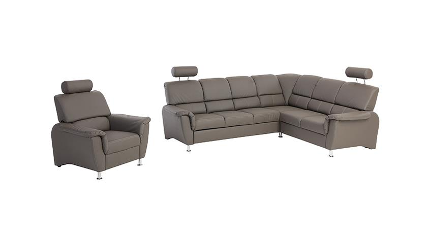Sessel PISA Sofa Fernsehsessel mit Kopfstütze in dunkelgrau