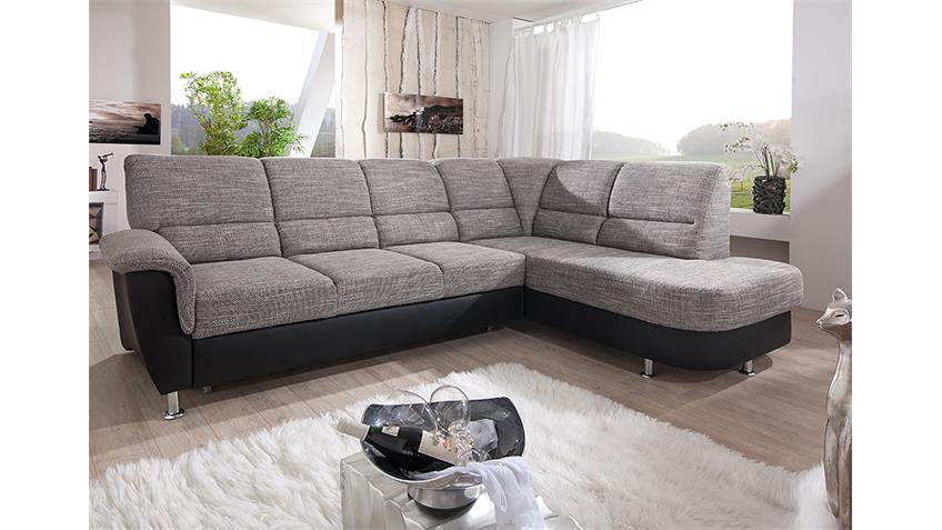 Ecksofa PISA Sofa Stoff grau schwarz mit Bettfunktion