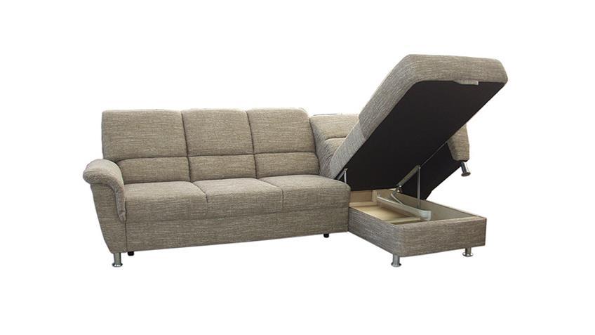 Ecksofa PISA Sofa in Webstoff braun mit Bettkasten