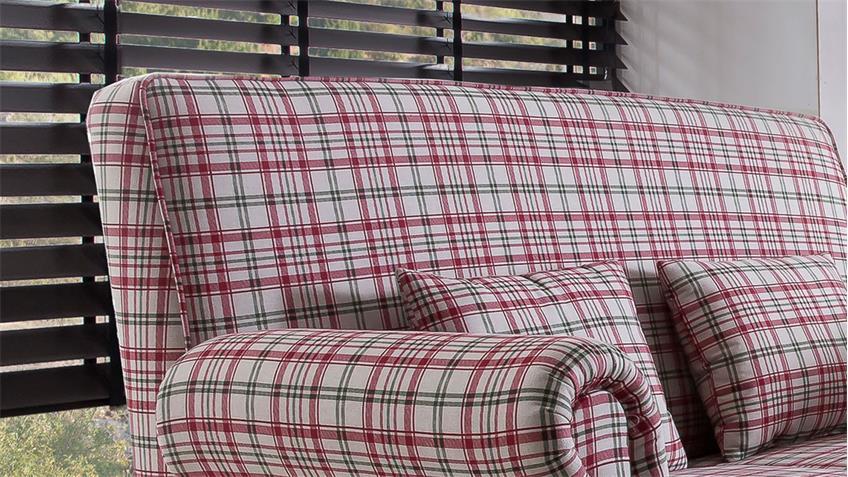 Küchensofa ANTONI Sofa Speisesofa 2-Sitzer Stoff rot weiß kariert 142