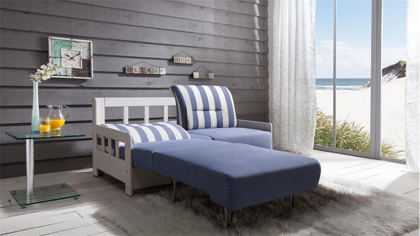 Schlafsofa KAMPUS Sofa 2-Sitzer Stoff blau weiß Liegefunktion 154 cm