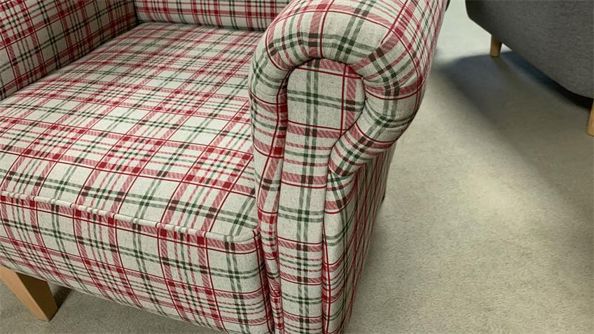Küchen Sessel ANTONI Diningsessel Stoff kariert rot weiß