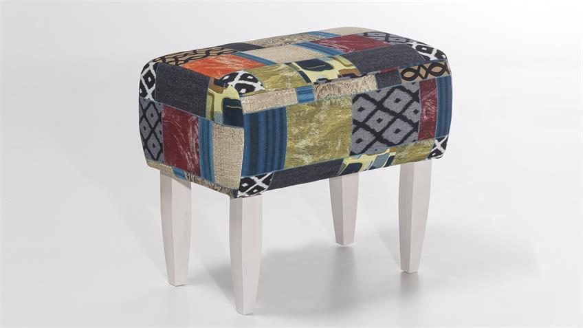 Hocker MORO Patchworkdesign Sitzhocker Federkernpolster