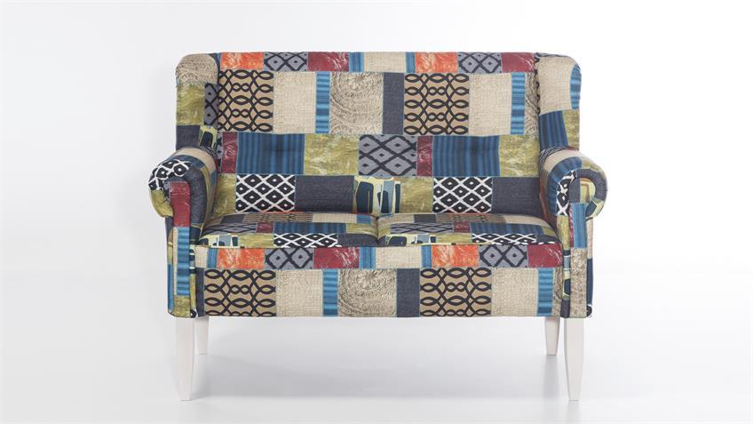 Sofa MORO Stoff in Patchwork Speisesofa mit Federkern
