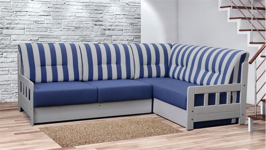Ecksofa CAMPUS Stoff blau weiß inkl. Liegefunktion 240x165