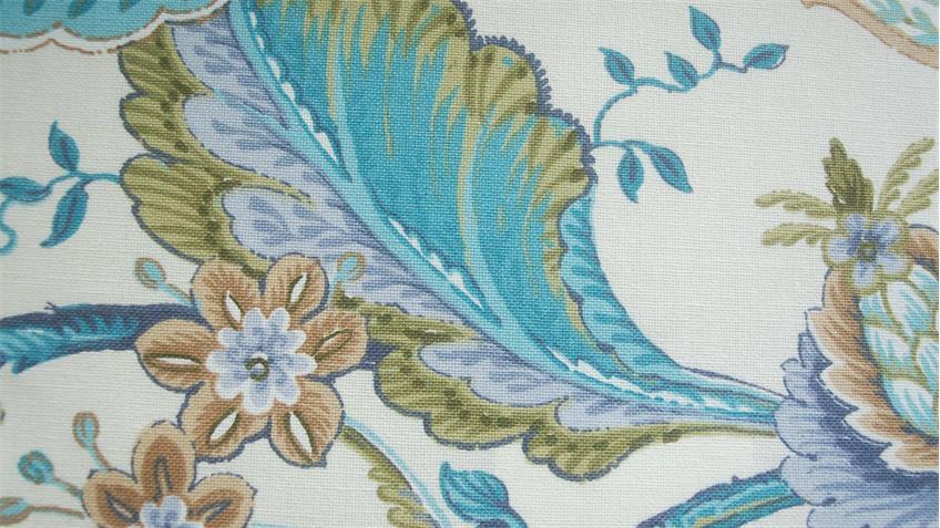 Ecksofa ANTONI Eckbank in Stoff blau und weiß Blumenmuster