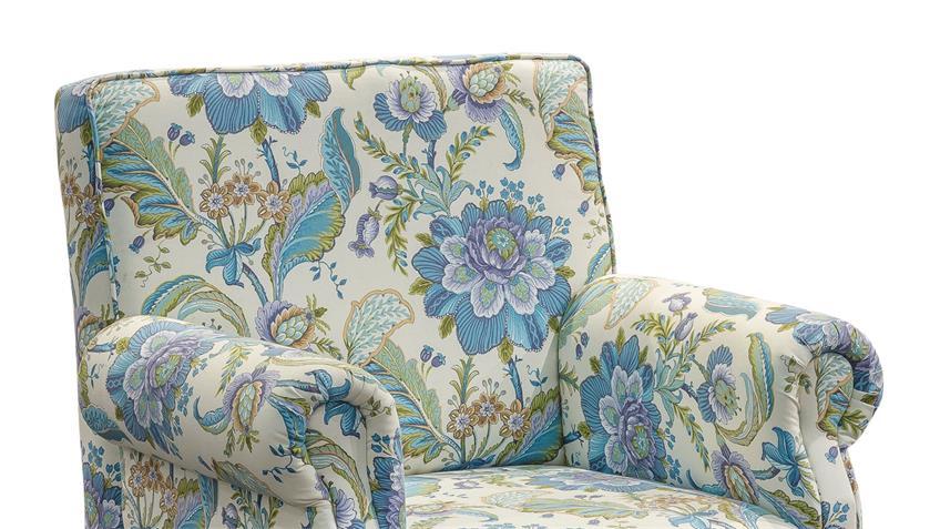 Sessel ANTONI Küche in Stoff blau und weiß Blumenmuster