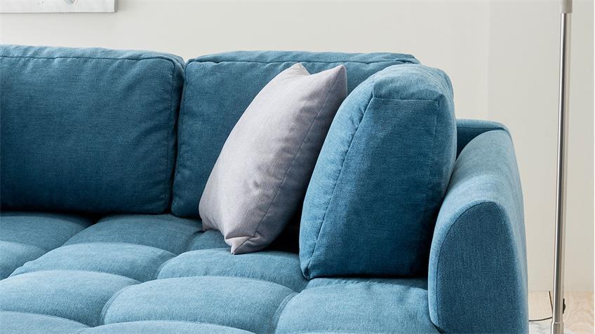 Ecksofa AGIRA Denim Jeans Stoff blau mit Schlaffunktion Kissen 250x190