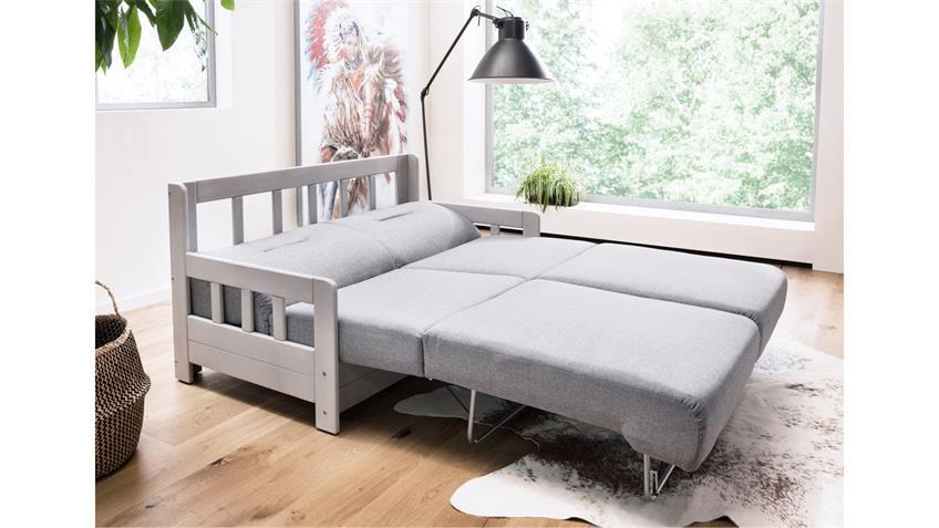 Schlafsofa 2 KAMPUS Sofa 2-Sitzer Stoff hellgrau Liegefunktion 154 cm