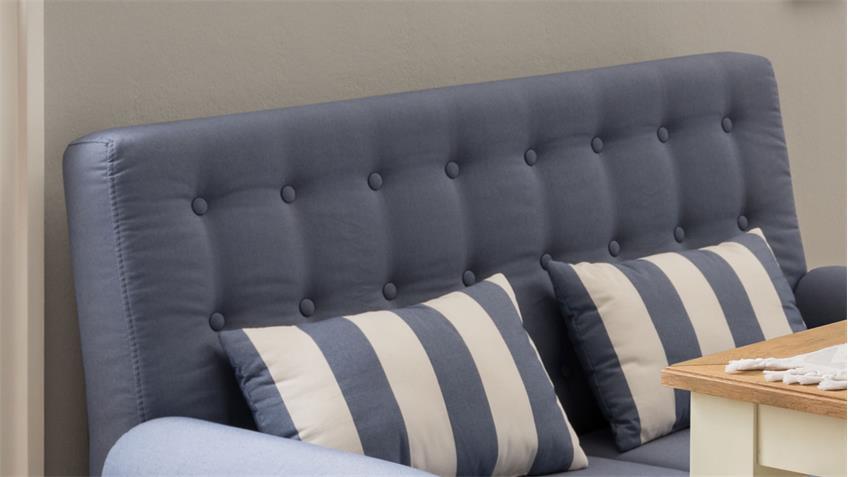 2er Küchensofa SCALEA 2-Sitzer Stoff blau weiß Federkern inkl. Kissen