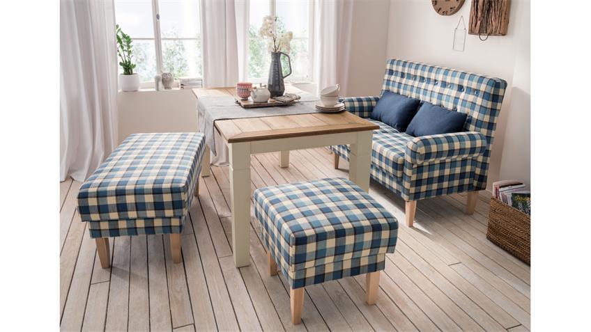 2er Küchensofa SCALEA 2-Sitzer Stoff blau kariert Federkern mit Kissen