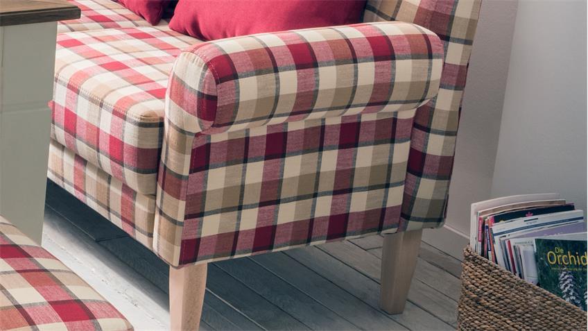 2er Küchensofa SCALEA 2-Sitzer Stoff rot kariert Federkern mit Kissen