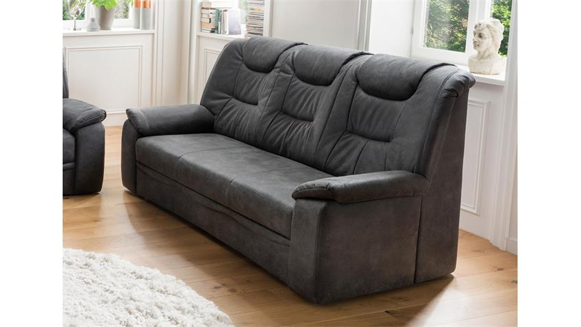 3-Sitzer GRANDE Sofa Couch in Stoff dunkelgrau inkl. Federkern 205 cm