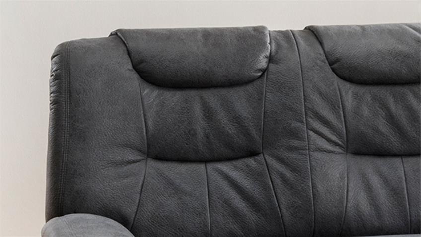 2-Sitzer GRANDE Sofa Couch in Stoff dunkelgrau inkl. Federkern 158 cm
