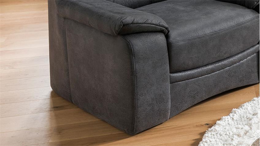 Sessel GRANDE Fernsehsessel in Stoff dunkelgrau inkl. Federkern 102 cm