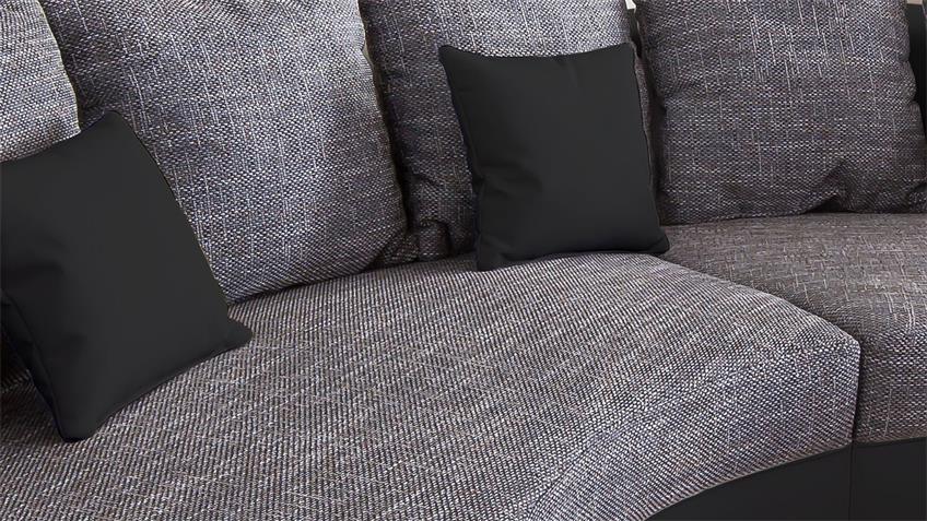 Wohnlandschaft LIMONCELLO Sofa Rundecke schwarz grau
