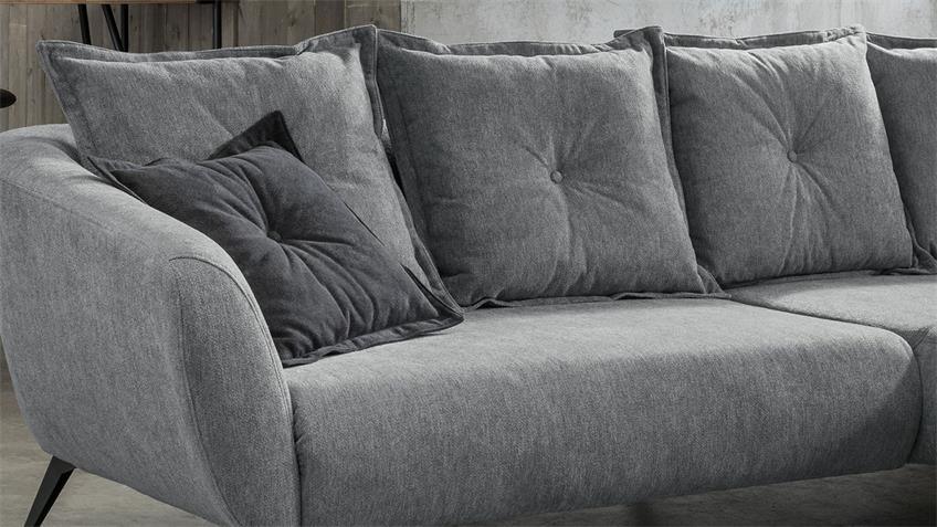 Ecksofa BAGGIO Sofa Wohnlandschaft mit Kissen in grau