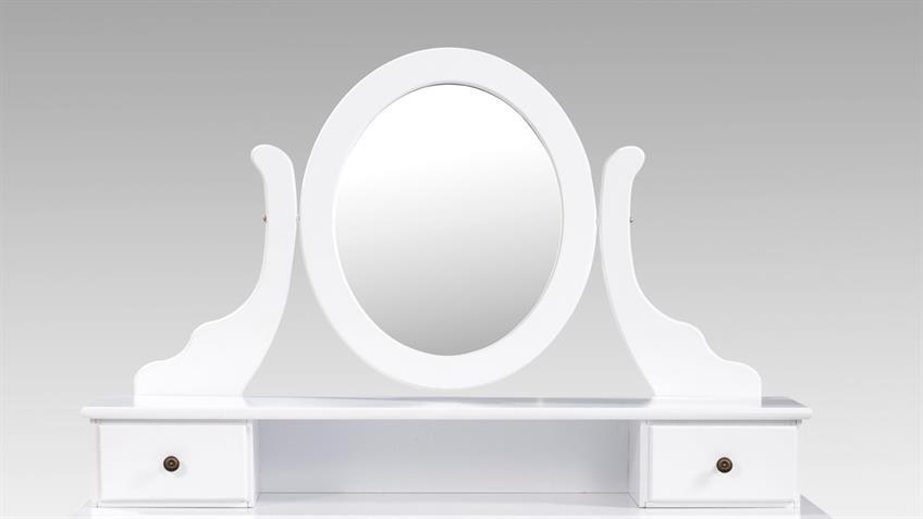 Schminkkommode mit Hocker PAOLO weiß mit Spiegel und Schubkästen