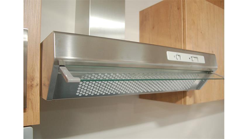 Küchenzeile ASTOR Einbauküche Küche in Vanille Eiche Chrom