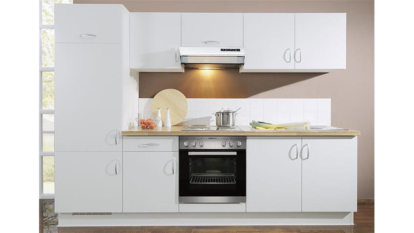 Küchenzeile AVANT I links in Weiß und Nussbaum - inkl. E-Geräte