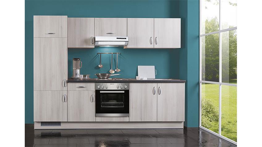 Küchenzeile AVANT 1 Akazie Glitterstone Schwarz links inkl. Geräte