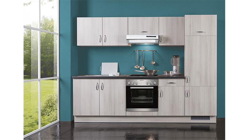 AVANT Küchenzeile II Akazie/Schwarz/Rechts - inkl. E-Geräte