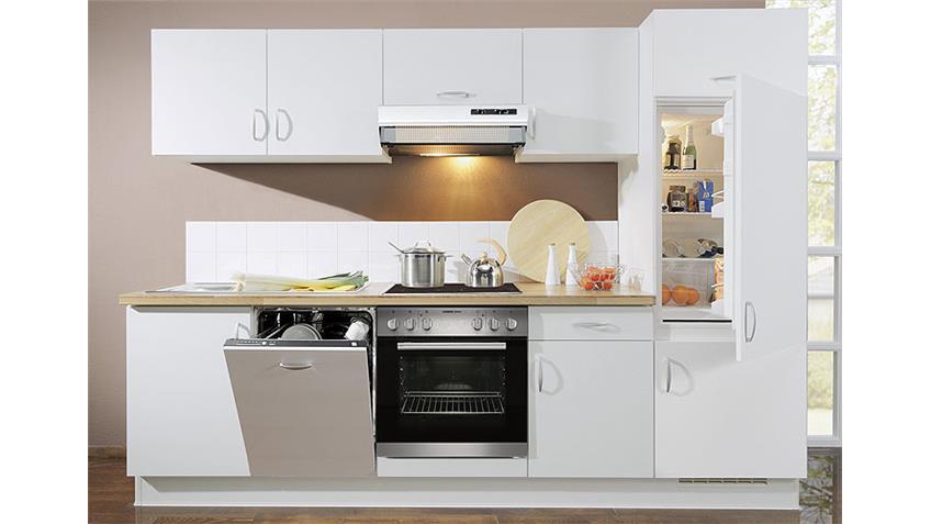 Küchenzeile AVANT III Weiß/Nussbaum/Rechts - inkl. E-Geräte