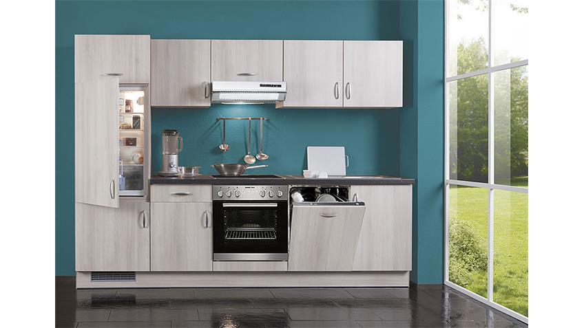 AVANT Küchenzeile III Akazie/Schwarz/Links - inkl. E-Geräte