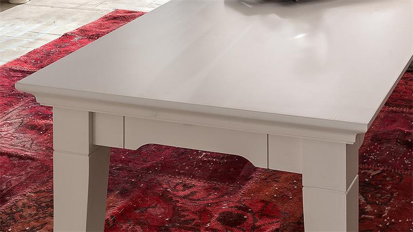 Couchtisch 1 LEONA Astfichte massiv weiß lasiert 130 cm