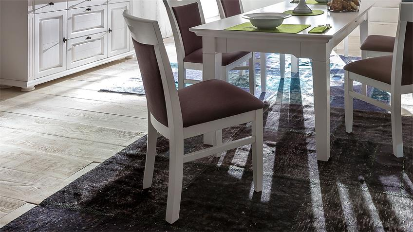 Stuhl LEONA in Astfichte massiv weiß lasiert braun