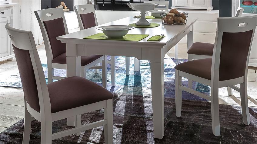 Esstisch LEONA Astfichte massiv weiß lasiert 180-250 cm