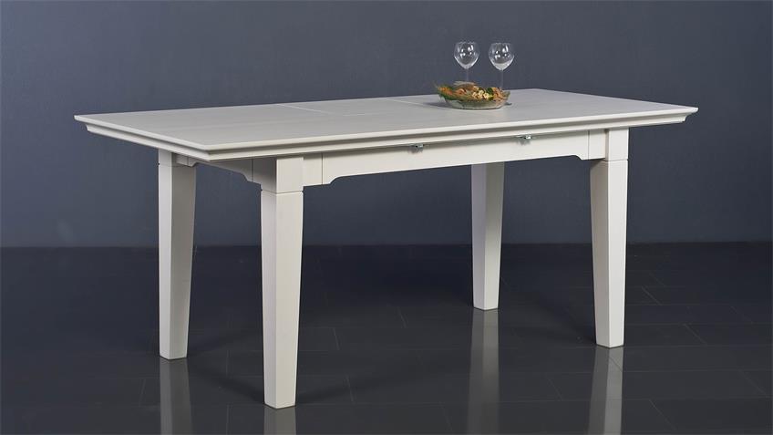 Esstisch LEONA Astfichte massiv weiß lasiert 140-180 cm