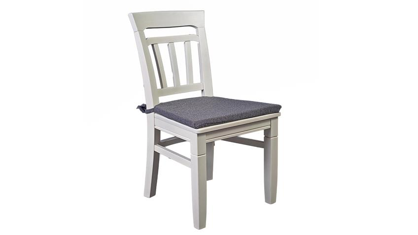 Stuhl LEONA in Astfichte massiv weiß lasiert grau