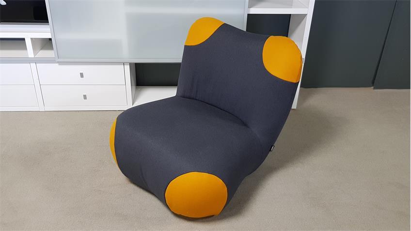 ROLF BENZ freistil 171 Sessel Pandabär schwarzgrau Ecken gelb