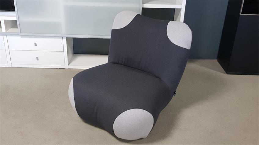 ROLF BENZ freistil 171 Sessel mit Pouf Pandabär schwarzgrau
