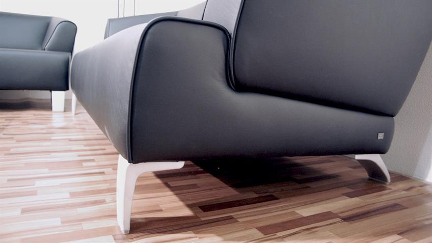 ROLF BENZ Sofabank SOB 2300 Leder schwarz 3-Sitzer 195 cm breit