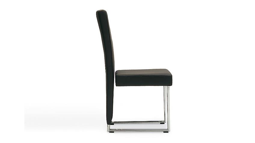 ROLF BENZ Stuhl STU 7400 in Leder schwarz und Chrom