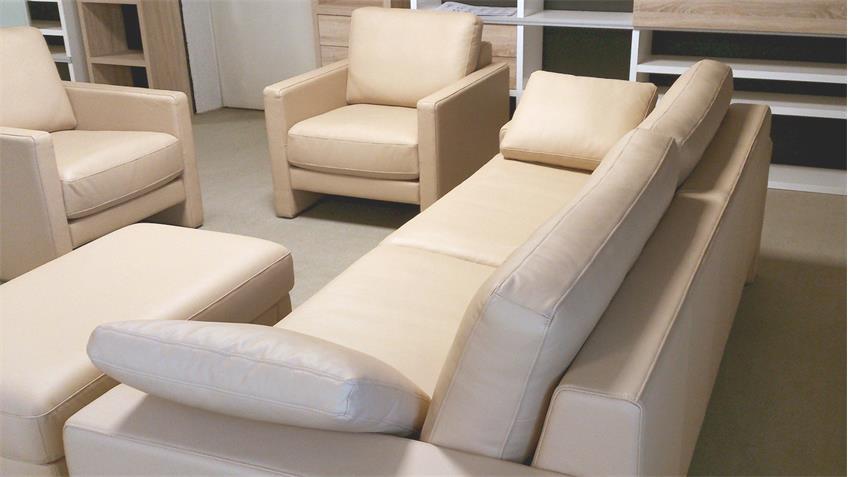 rolf benz sitzgruppe ego leder beige sofa sessel hocker. Black Bedroom Furniture Sets. Home Design Ideas