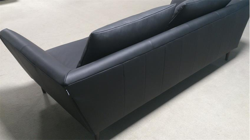 Sofabank Freistil 176 ROLF BENZ Leder schwarz mit 2 Kissen
