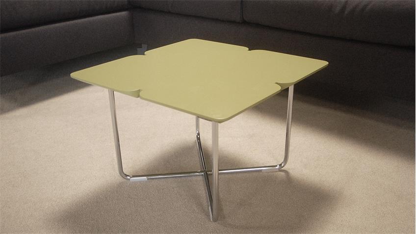 couchtisch rolf benz freistil 195 grauolive 49x49 chrom. Black Bedroom Furniture Sets. Home Design Ideas