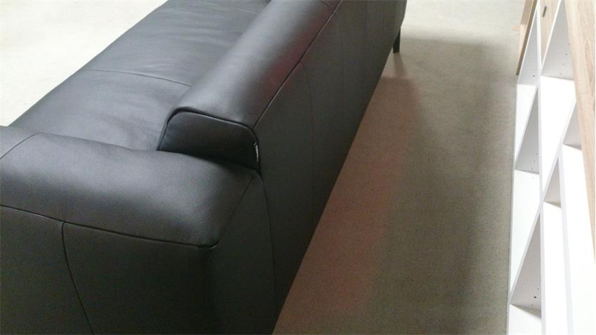 Sofabank 203 Freistil 186 ROLF BENZ Echtleder schwarz