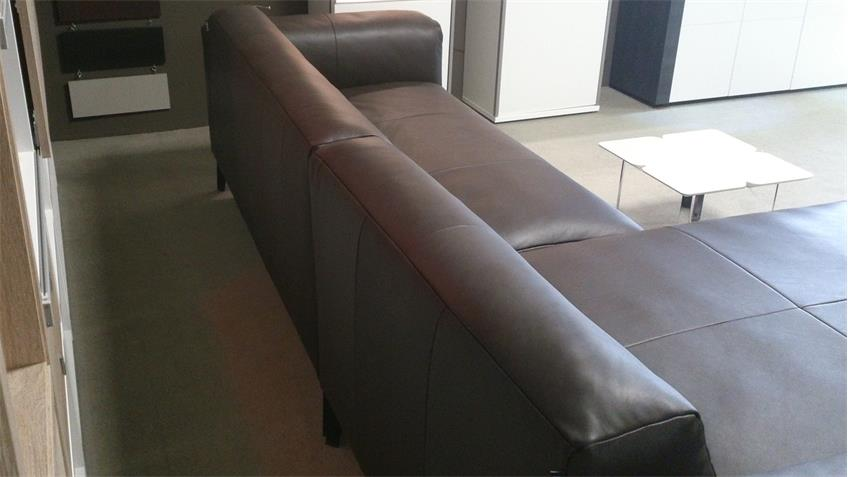 Freistil 186 ROLF BENZ Ecksofa links Echtleder braun