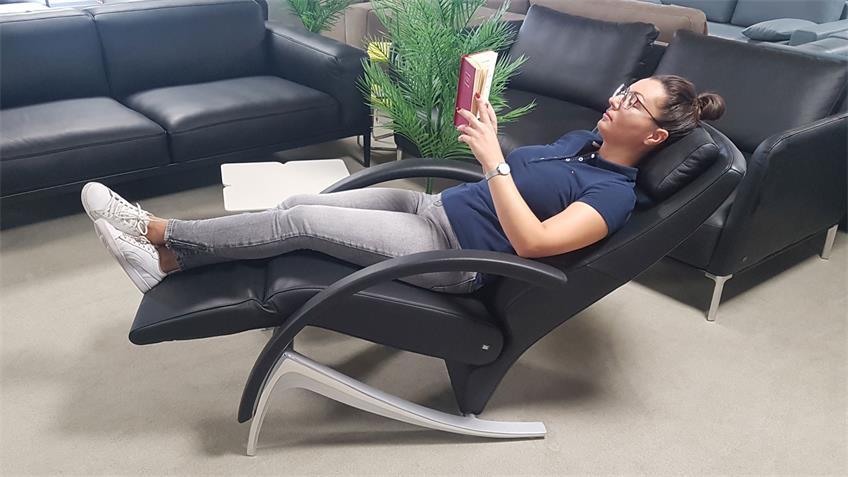 Rolf Benz Liegesessel L-SE 3100 Leder schwarz Relaxfunktion