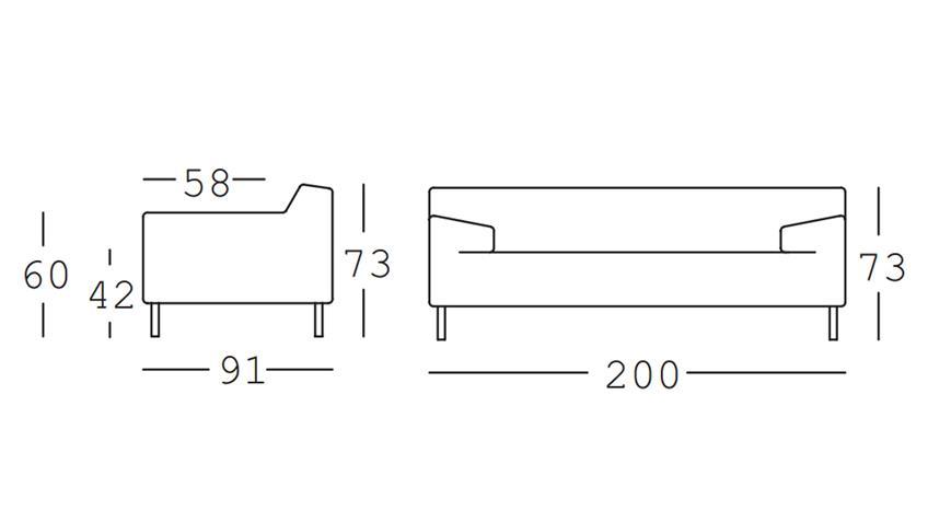 Sofa Freistil 180 2-Sitzer Leder schwarz 200 cm ROLF BENZ