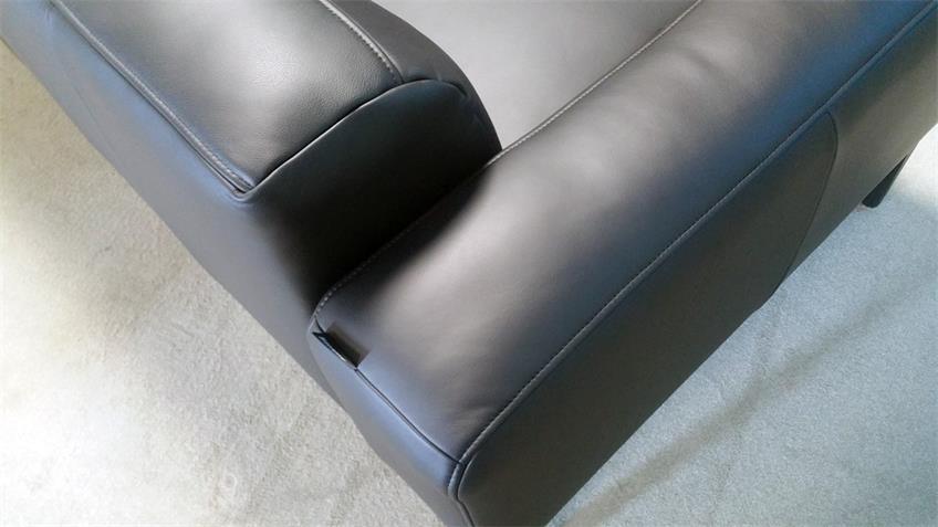 Rolf Benz Sofa 3-Sitzer Freistil 167 Leder schwarz 221 cm