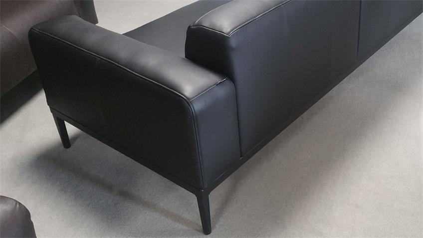 Ecksofa Echtleder schwarz Longchair links Freistil 167 ROLF BENZ
