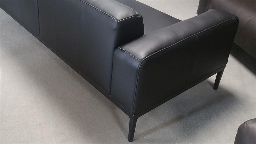 Ecksofa Freistil 167 ROLF BENZ Echtleder schwarz Longchair rechts